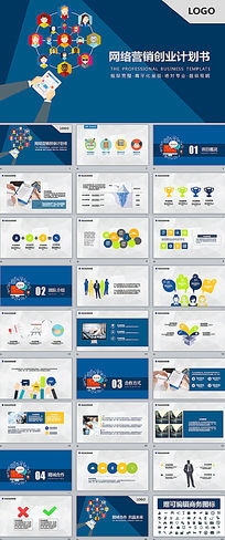 互联网手机APP网络营销创业融资计划书ppt模板