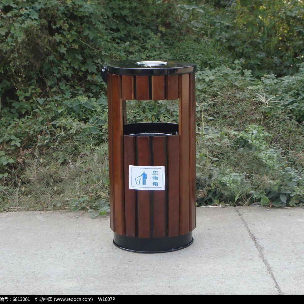 仿木桶型垃圾桶图片