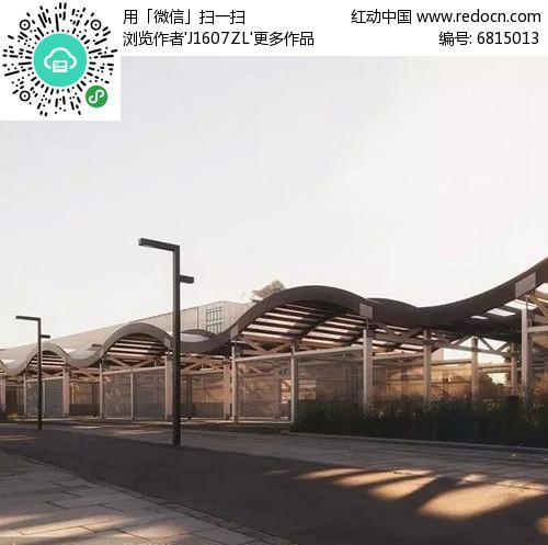 钢结构水波纹长廊