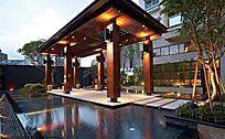 新中式廊架夜景灯光图片