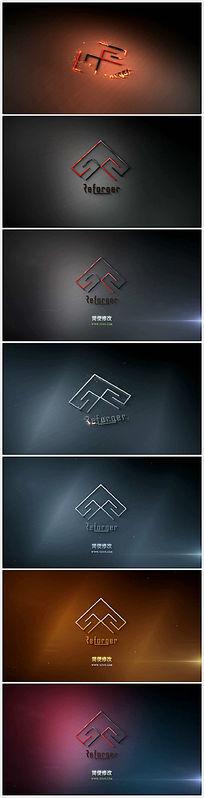震撼大气粒子燃烧汇聚三维Logo展示ae模板