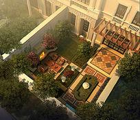 别墅内庭院鸟瞰图