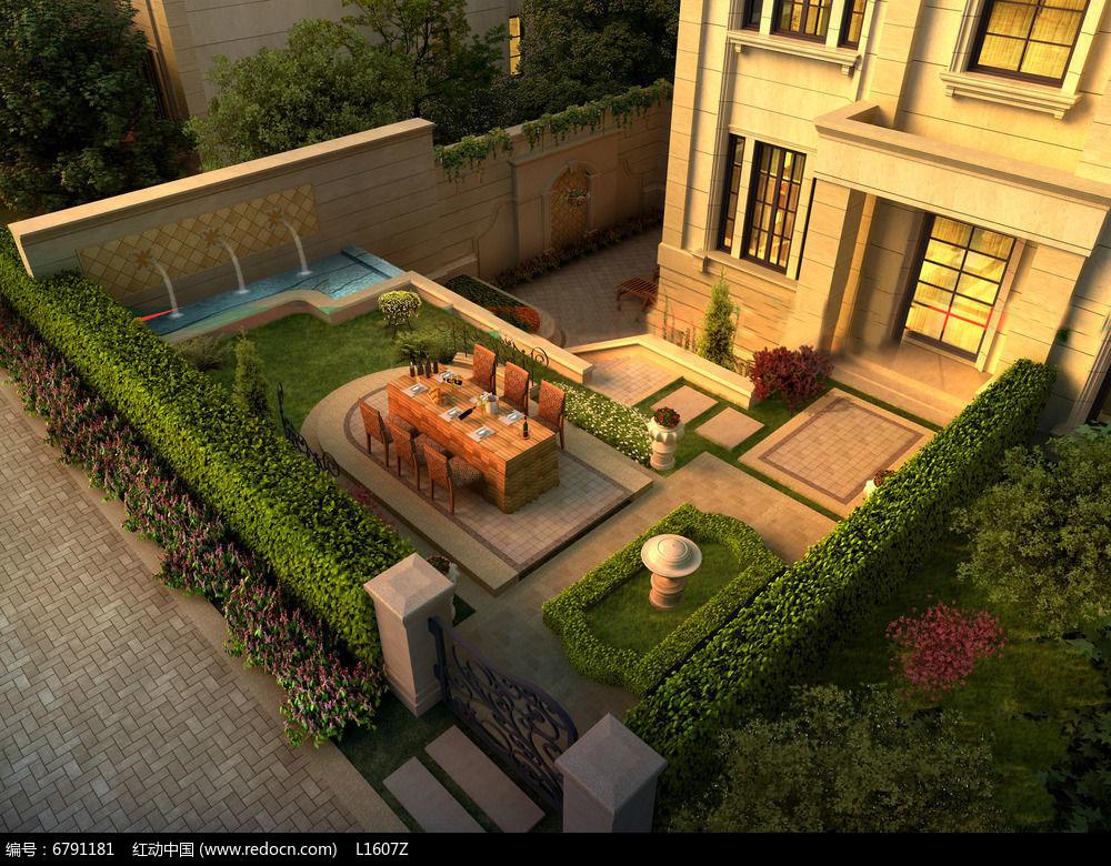 别墅小院环境效果图图片
