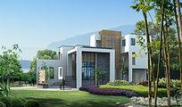 独栋别墅景观效果图PSD设计