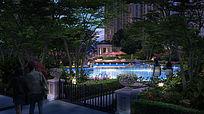 高档小区局部泳池景观效果图