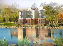 湖畔花园别墅景观效果图PSD
