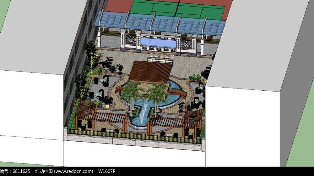 景观中庭设计su模型图片