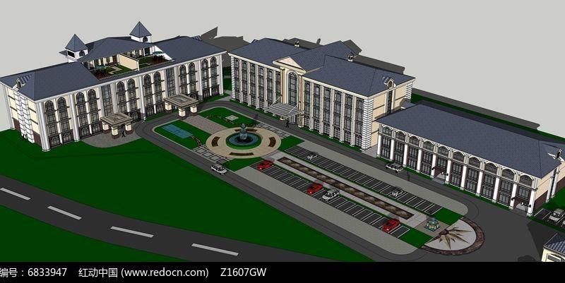 欧式酒店模型图片