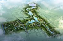 湿地公园景观鸟瞰效果图 PSD