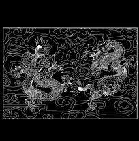 双龙戏珠模纹图 dwg