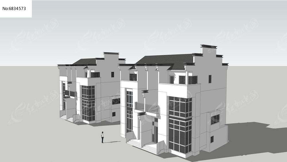 微派联排别墅skp素材下载_建筑设计图片
