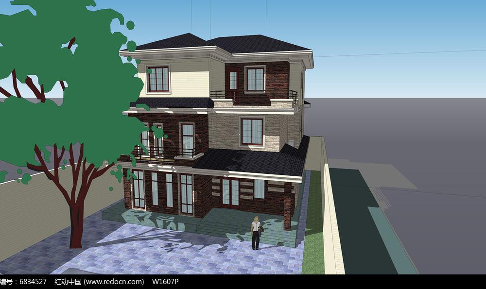 原创设计稿 3d模型库 建筑 现代三层小别墅  请您分享: 素材描述:红动