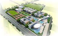 学校建筑鸟瞰图
