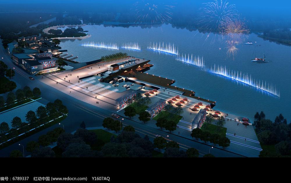 夜晚滨湖公园效果图图片