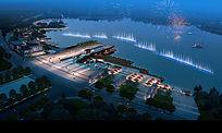 夜晚滨湖公园效果图