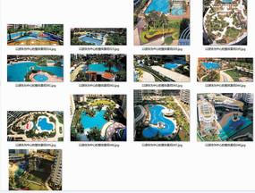 高档小区的游泳池景观鸟瞰意向图