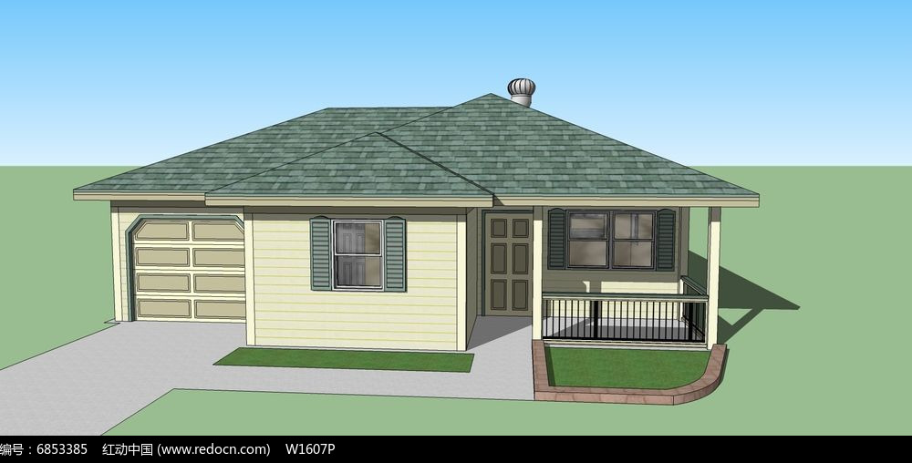 原创设计稿 3d模型库 建筑 简单单层别墅  请您分享: 素材描述:红动网