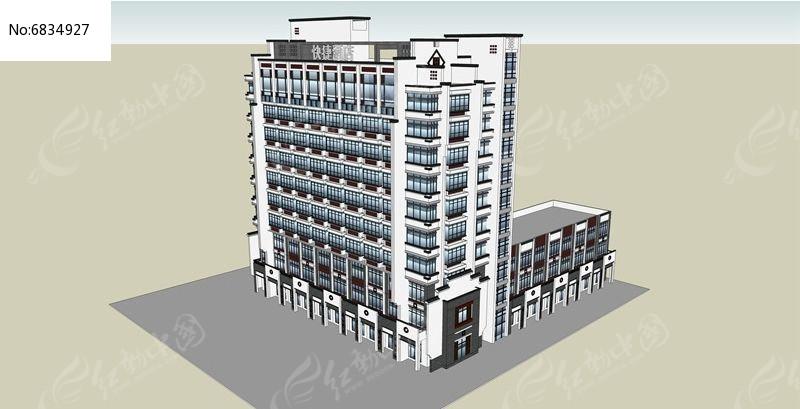 现代中式酒店底层带商铺skp素材下载_建筑设计图片图片