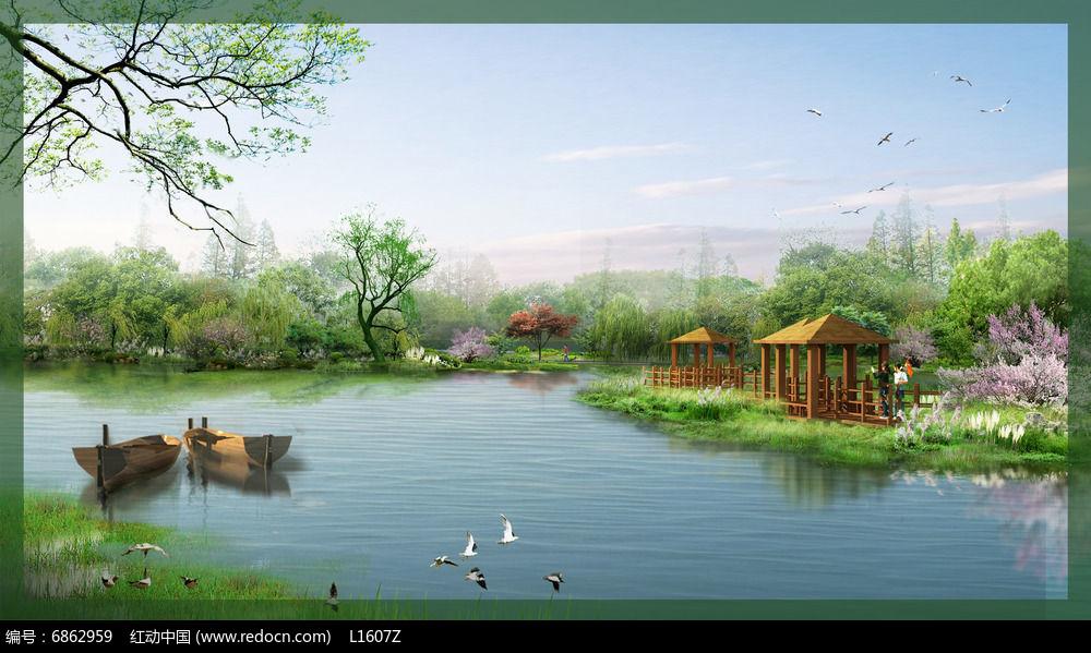 滨水景观效果图 PSD图片