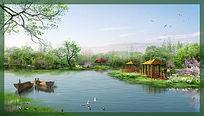 滨水景观效果图 PSD