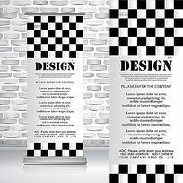 黑白个性简洁大气国际象棋棋盘纹理时尚现代感易拉宝