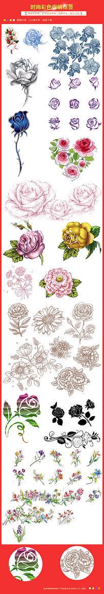 手绘玫瑰花花卉矢量素材下载 PSD