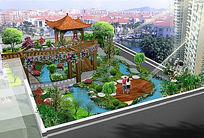 屋顶花园景观绿化效果图 PSD