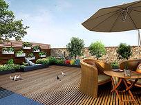 屋顶花园效果图 PSD