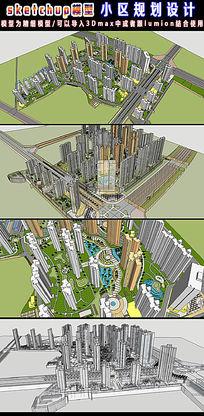 小区规划3d模型设计 skp