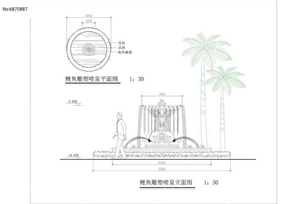 鲤鱼雕塑喷泉平面立面图