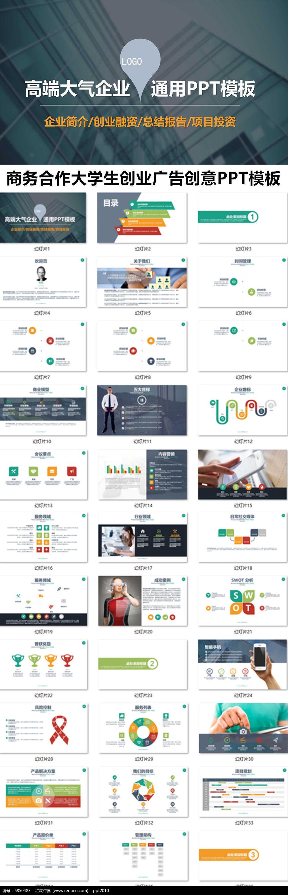 商务合作大学生创业广告创意ppt模板商务通用ppt模版