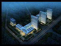 医院大楼夜景灯光照明PSD