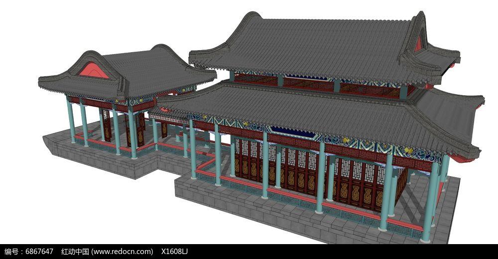 中式古建彩绘建筑图片
