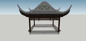 中式古建飞檐四角亭