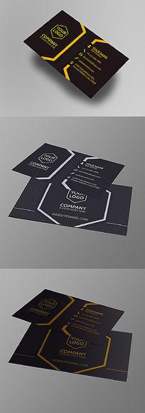 简约大气创意黑色商务名片设计模板