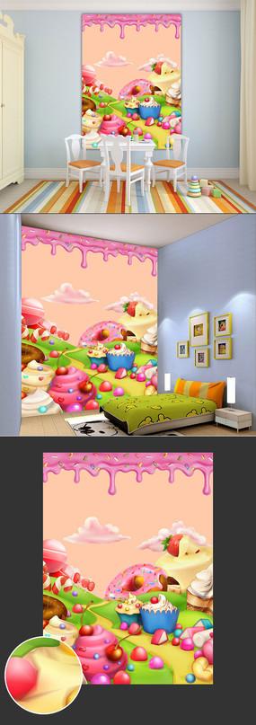 糖果王国儿童背景墙