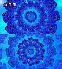 唯美婚庆蓝玫瑰花飘扬庆祝视频