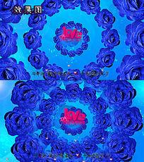 唯美情人节蓝玫瑰花环飘扬视频