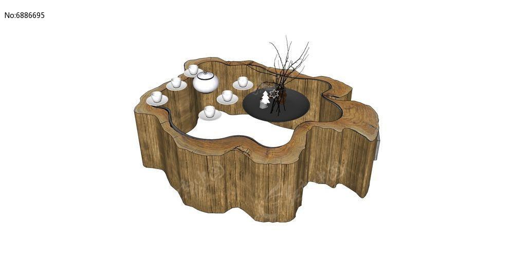 房屋家具SU茶桌设计skp素材下载_室外根艺设自己能学习模型设计图片