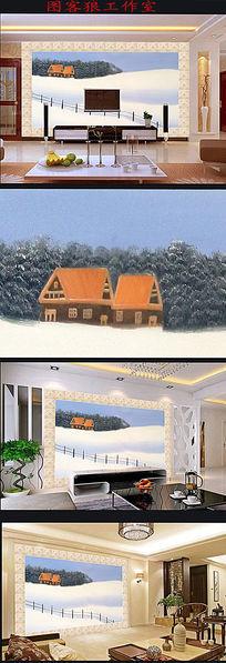 北方的冬天油画图