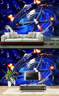 星空宇宙陨石立体背景墙