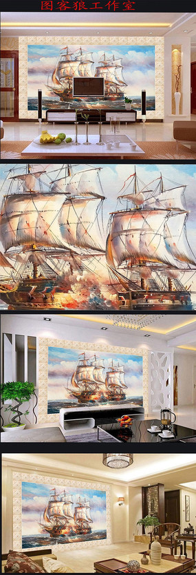 一帆风顺油画背景墙