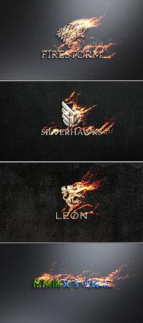 火焰燃烧logo标志展示ae模板