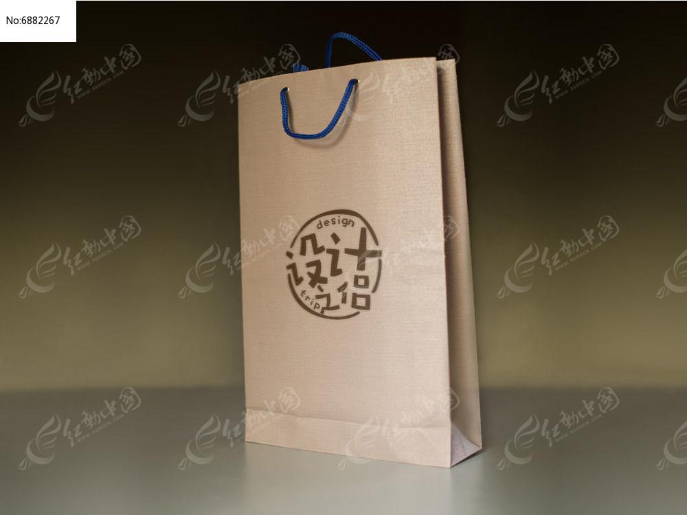 牛皮纸手提袋LOGO标志展示样机图片