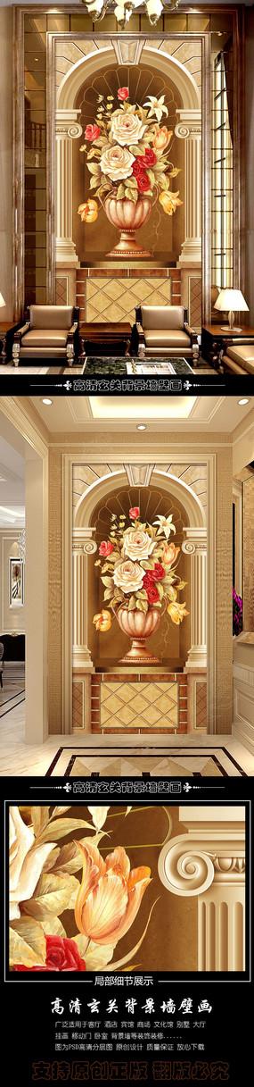 欧式复古花卉玄关背景墙