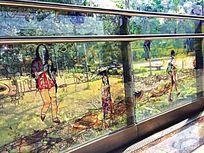 手绘玻璃栏杆