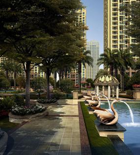 带水景的住宅区意向图