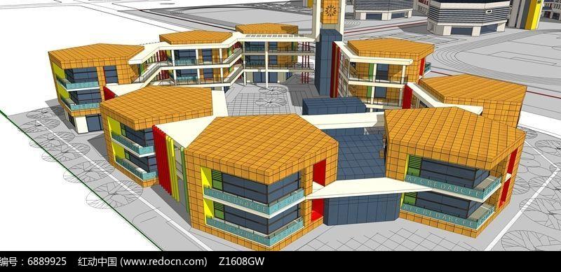 原创设计稿 3d模型库 建筑 多边形幼儿园模型