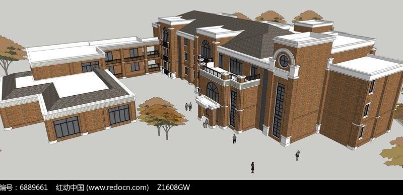 古典风格幼儿园3d模型图片