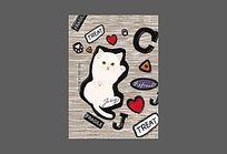 灰色底纹猫咪笔袋图案 AI